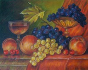 Peaches, grapes and cherries by bazaroff