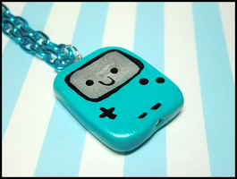 Blue Gameboy Necklace by GrandmaThunderpants