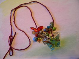 Butterfly Bead Sparkle Necklace by AspenBeadedCreations