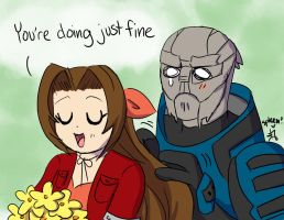 Garrus and Aeris by love-your-spleen