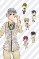 [Free!] - Aiichiro Nitori and Chibis by Shiunee