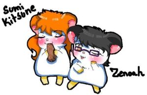 Mommy and Zen as hamsters by Minako1125