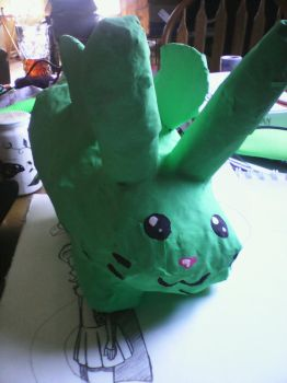 Paper mache: flying mint bunny by 4-29