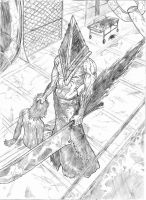Silent Hill's Pyramid Head A3 - pencil sketch by IgorChakal