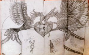 Phoenix and Dragon Chest Piece Tattoo sketch by metalchick200615