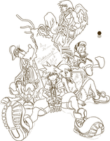 Kingdom Hearts - Lineart by Andu-ne