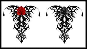 Gothic Tribal Rose Back Tat V3 by Quicksilverfury