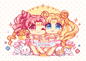 Chibi Moon And Serena print by KokoTensho