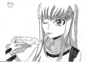 C.C. eating pizza- Code Geass by rapperfree