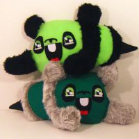 Two Green Pandabees by loveandasandwich