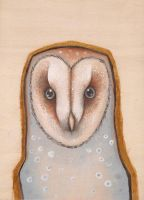 Barn Owl On Wood by AngelaRizza