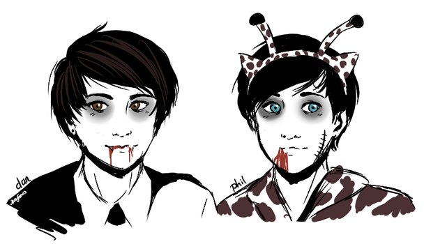 Halloween Dan + Phil by RosyFoxes