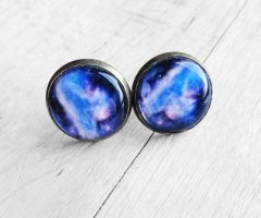 Blue and Purple Galaxy Resin Stud Earrings by crystaland