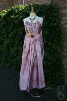 Shae in oldpink tiedye crashed satin with belt by Samalla