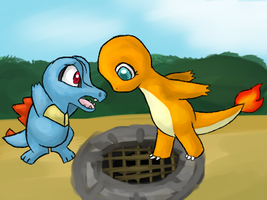PMD: Charmander and Totodile by Moonblizzard