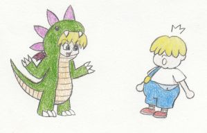 Request: Scaring Porky in a dragon costume by eternalJonathan