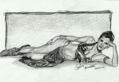 Princess Leia Slave Bikini Drawing by AngelinaBenedetti