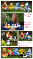 All the babies! Legendary Bird Pokemon plush set by SilkenCat