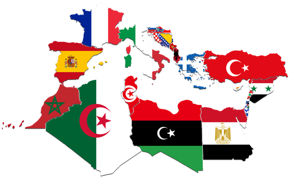 Mediterranean Countries Flag-Map by CaptainVoda
