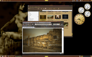 Ubuntu Steampunk Screenshot by michaelgoldthriteart