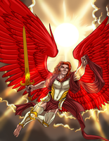 Rogue Mage Seraph in Flight by ProdigyDuck