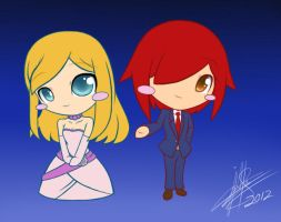 Raphael and Marie Chibi.:Basic colored:. by pokediged
