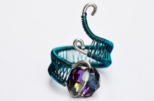 Adjustable Teal Dragon's Eye Ring by XenOhm