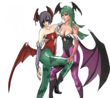 Lilith and Morrigan by closetartists