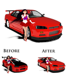 Rei with the Nissan Skyline (Remake) by Mikey186