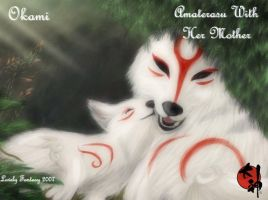 Amaterasu with her mother by CelestialBrush