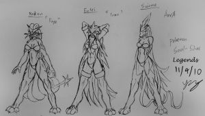 sketch: 3 Legendary pokegals by Snowfyre