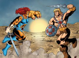 Lion-O vs HeMan by mike-mcgee
