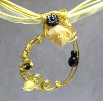 Abstraction Necklace in Yellow by sojourncuriosities