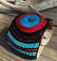 Beaded Cuff With Horsehair Embroidery by TarpanBeadworks