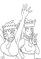 Liz and Patty (Soul Eater) Lineart by cyandev