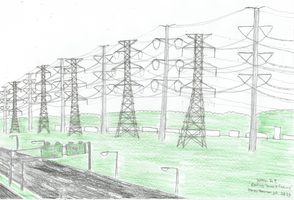 Electricity Towers and a Freeway by WillM3luvTrains