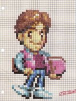 Marty McFly graph paper sprite by dragontamer272