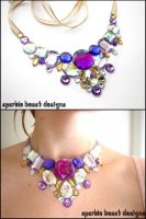 Purple and Gold Bib Necklace by Natalie526