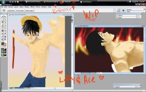 WIPs-Luffy n Ace by Callisto-Hime