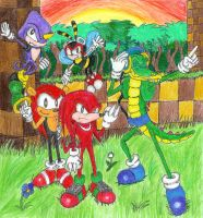 Knuckles and his Chaotix by Code-E