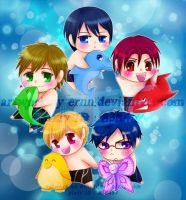 Chibi free!! characters by ernn