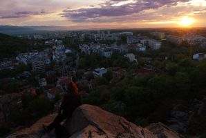 Sunset in Plovdiv by funcrow