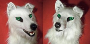 white wolf fursuit head by Javamoos