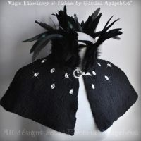 Cape Capelet Cloak Black Goth MAGE NOIR Nuno Felt by TianaChe