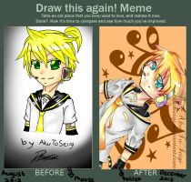 before and after meme: kagamine len by AkuToSeigi