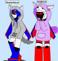 Thunderstorm and Skywatch in there hoodies by hotshotgirl