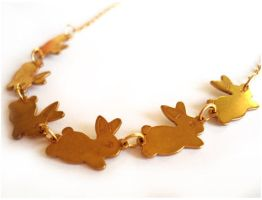 Gold Bunny Necklace by geurge