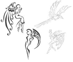 Angel tattoo sketches 2 by Finaira