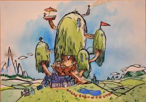 Watercolour - Adventure Time Treehouse by charliegrc