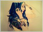 The Blue-Haired Girl with Tattoo by WonderKaa